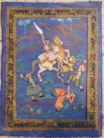 Pitchway peint à la main sur tissu représentatif de scène indienne, INDE - Dimension : 25 cm de large x 32 cm de haut - Prix de vente : 25€.