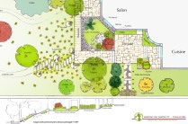 Plan et coupe du jardin japonais