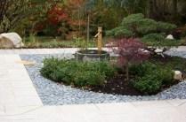 Jardin japonais à Orsay, terrasse granit et galets