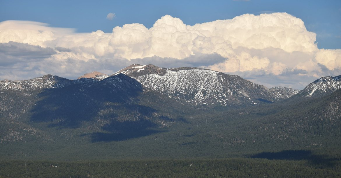 Freel Peak with billowing clouds in the background