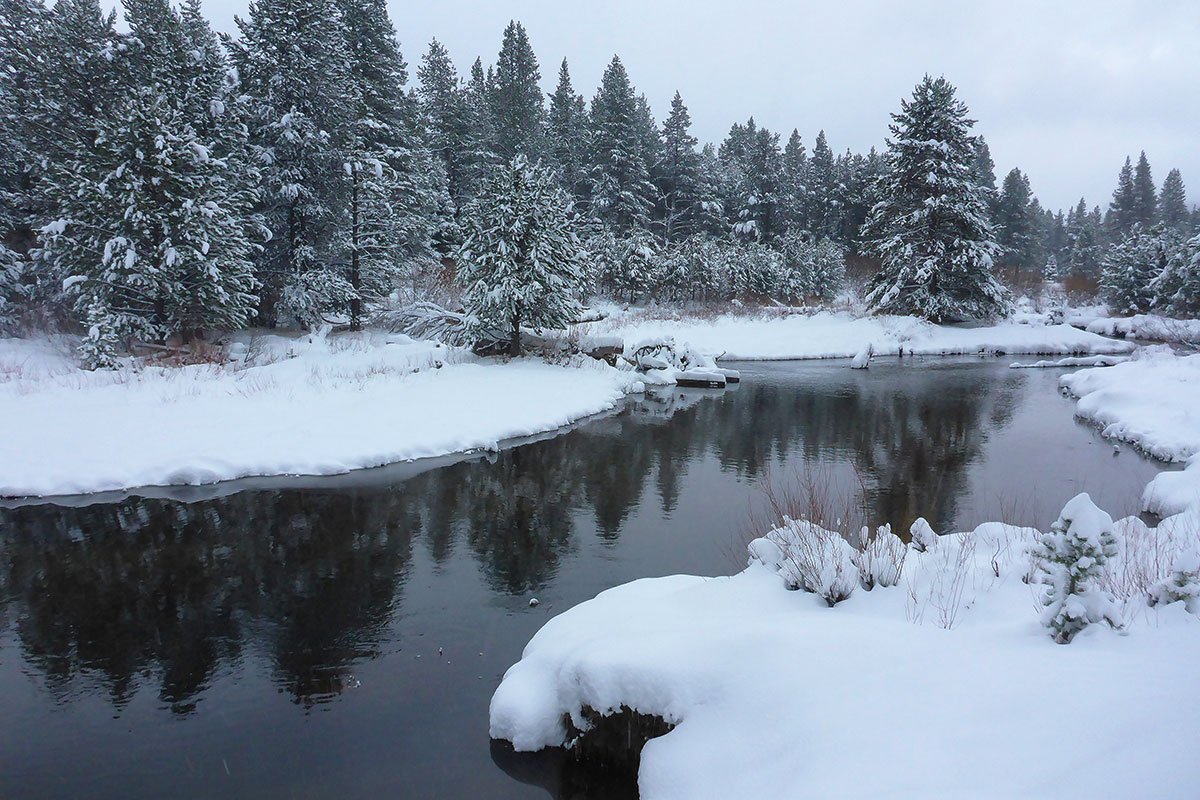 Snowbanks on a winter river