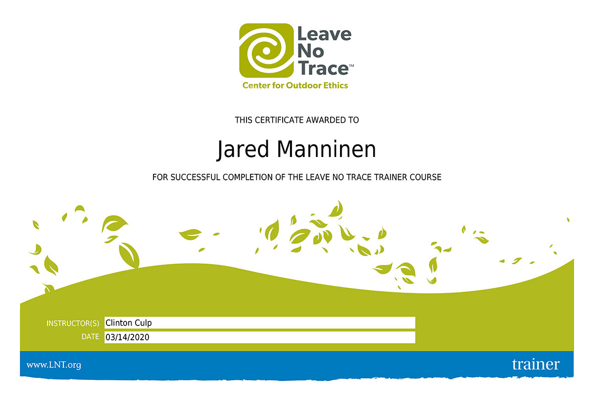 Leave No Trace Trainer Certificate