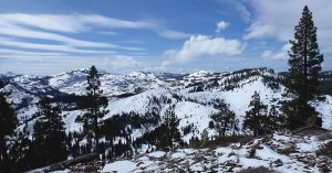 View of Donner Pass from Drifter Hut at Tahoe Donner Cross Country