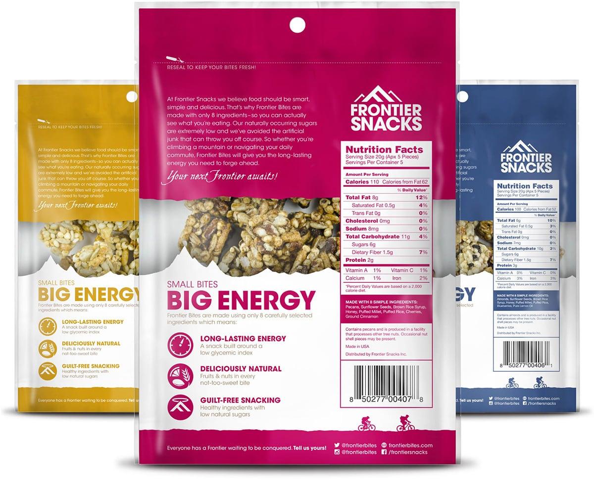 Frontier Bites Granola Packaging Design (Back)