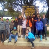 The group shot at the Londorosi Gate, end of semester, Mount Kilimanjaro National Park, Tanzania