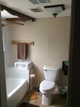 The updated bath–t.p. holder, towel rack, ceiling light, shower rod.