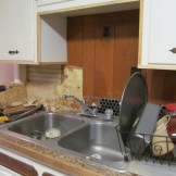 The remodel bug got the best of me and I tore off the paneling behind the sink, revealing some bead board (2/19)