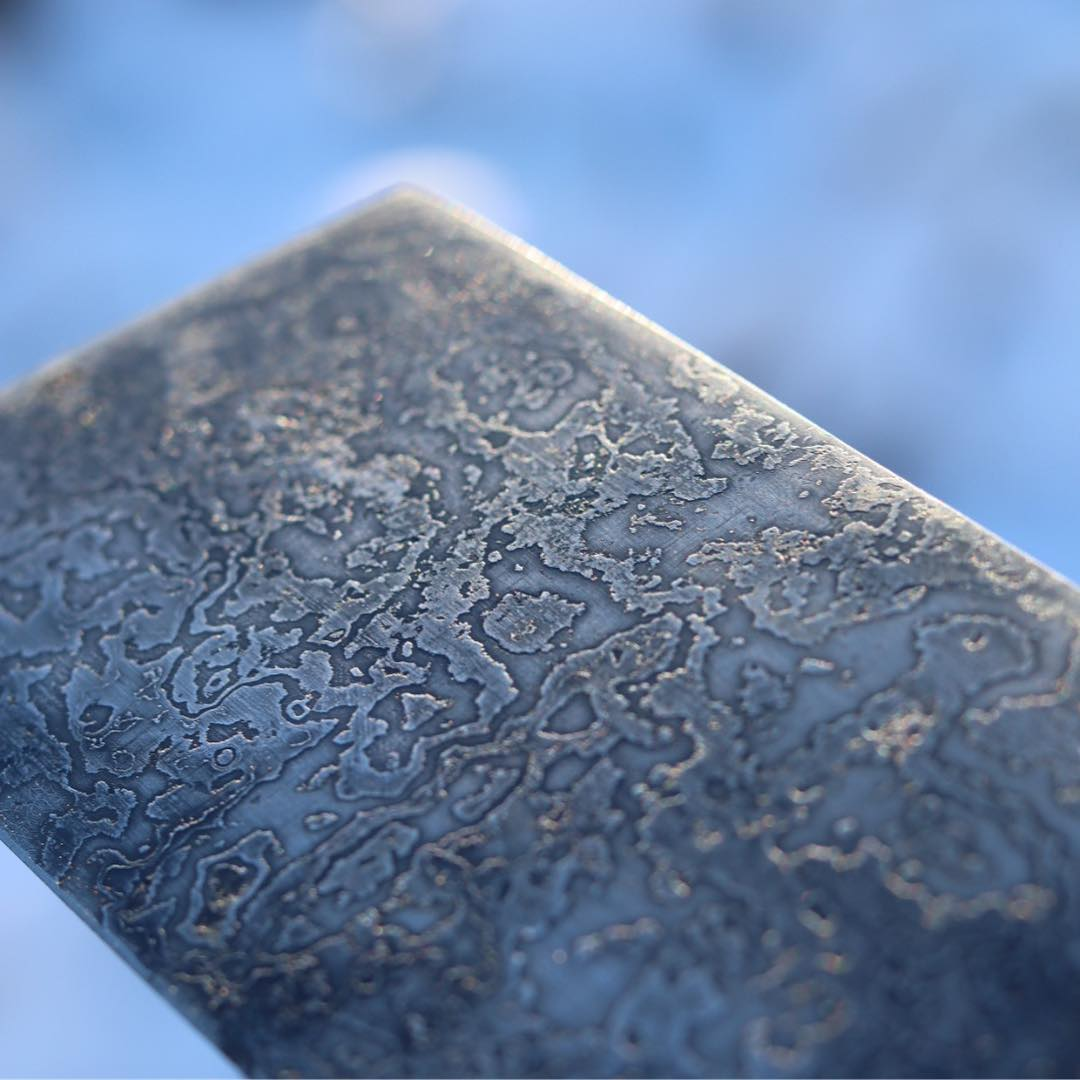 Regndroppsdamask Nakiri, skarp liten rackare! ?? Sharp little raindrop Damascus afternoon Nakiri.