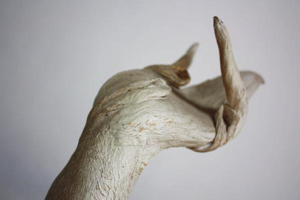 Petrified And Painted Tree Branch Hand Sculpture