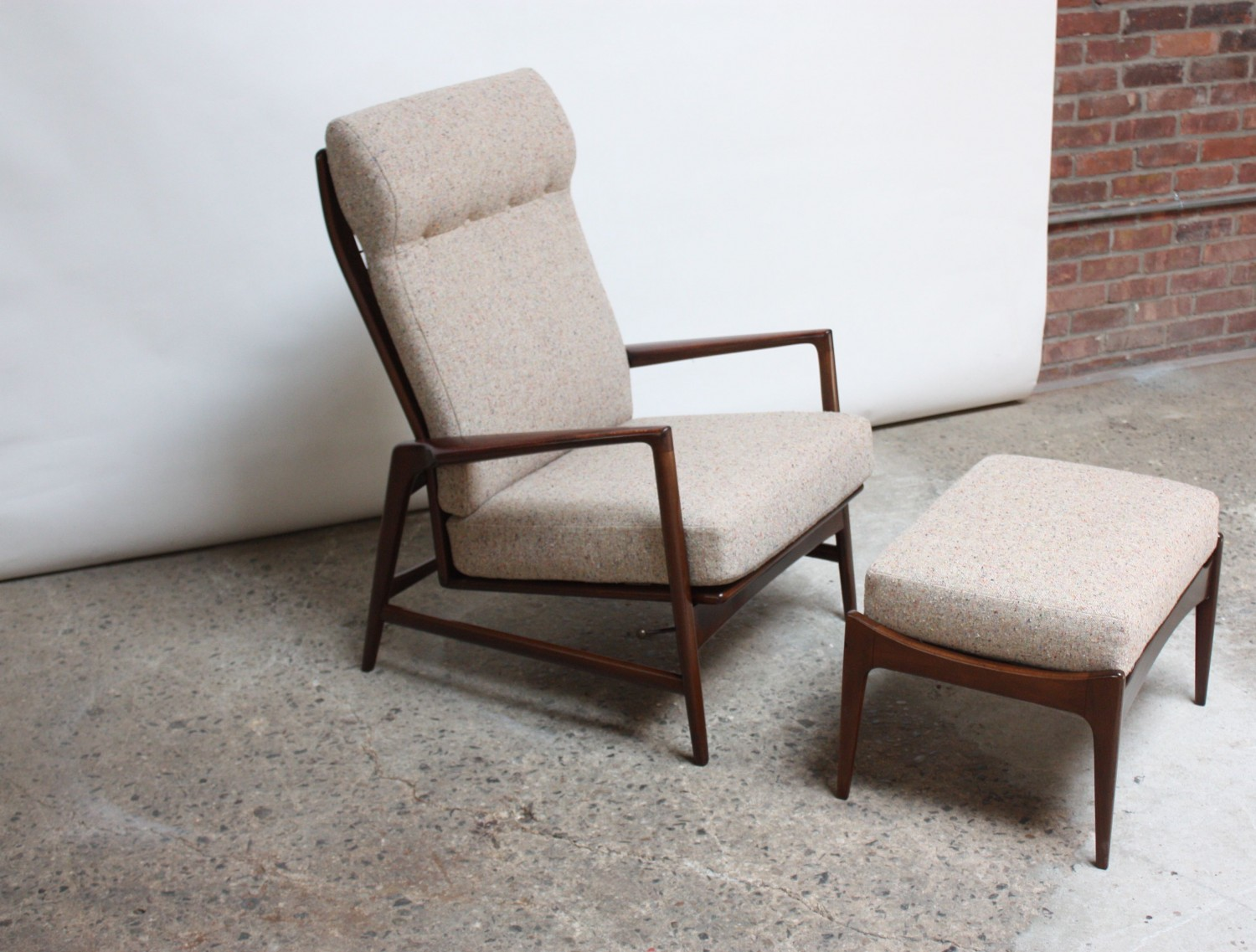 Selig Chair Reclining Lounge Chair And Ottoman By Ib Kofod Larsen For Selig