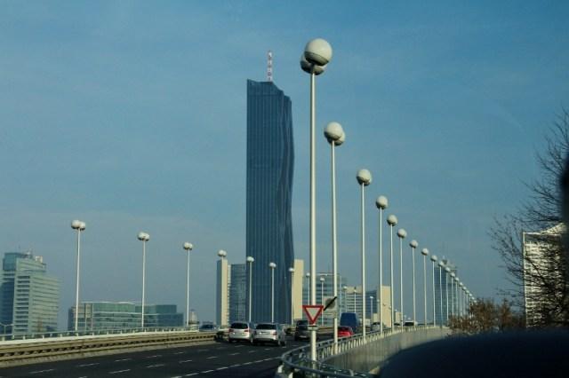 Donau City Tower 1 and  Reichsbrücke (German for Empire Bridge)