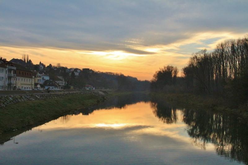 Sunset on the Danube in Melk, Bavaria, Austria