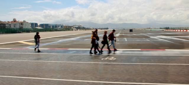 Pedestrian and bicycle path across Gibraltar airport