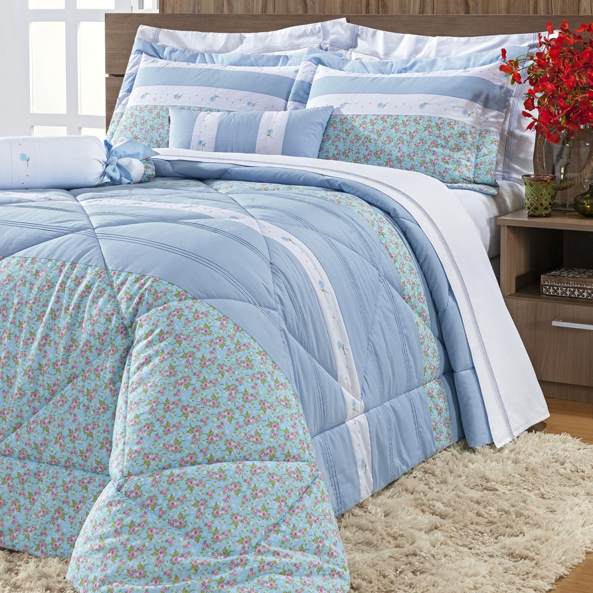 481a33cb0a Natalie Kit Colcha King Percal 150 Fios 100 Algodão 7 Peças Azul