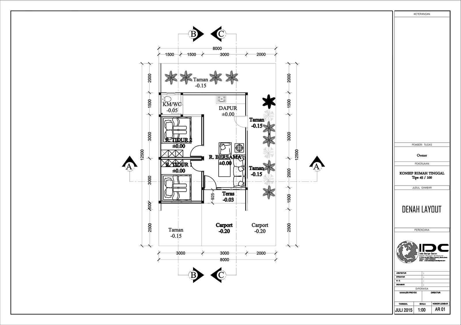Download Denah Rumah Type 45 Dwg. 1). Downloads File AutoCAD Gambar di atas