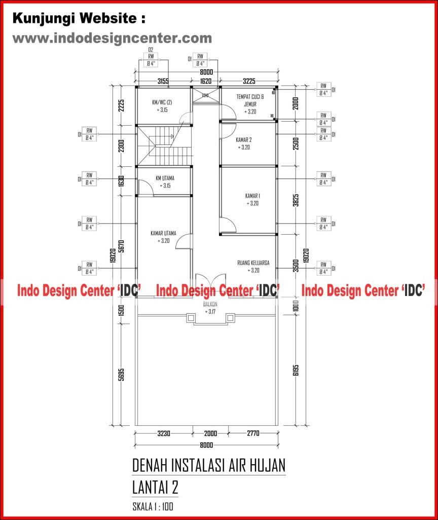 023 Denah Instalasi Air Hujan Atap Jasa Desain Rumah