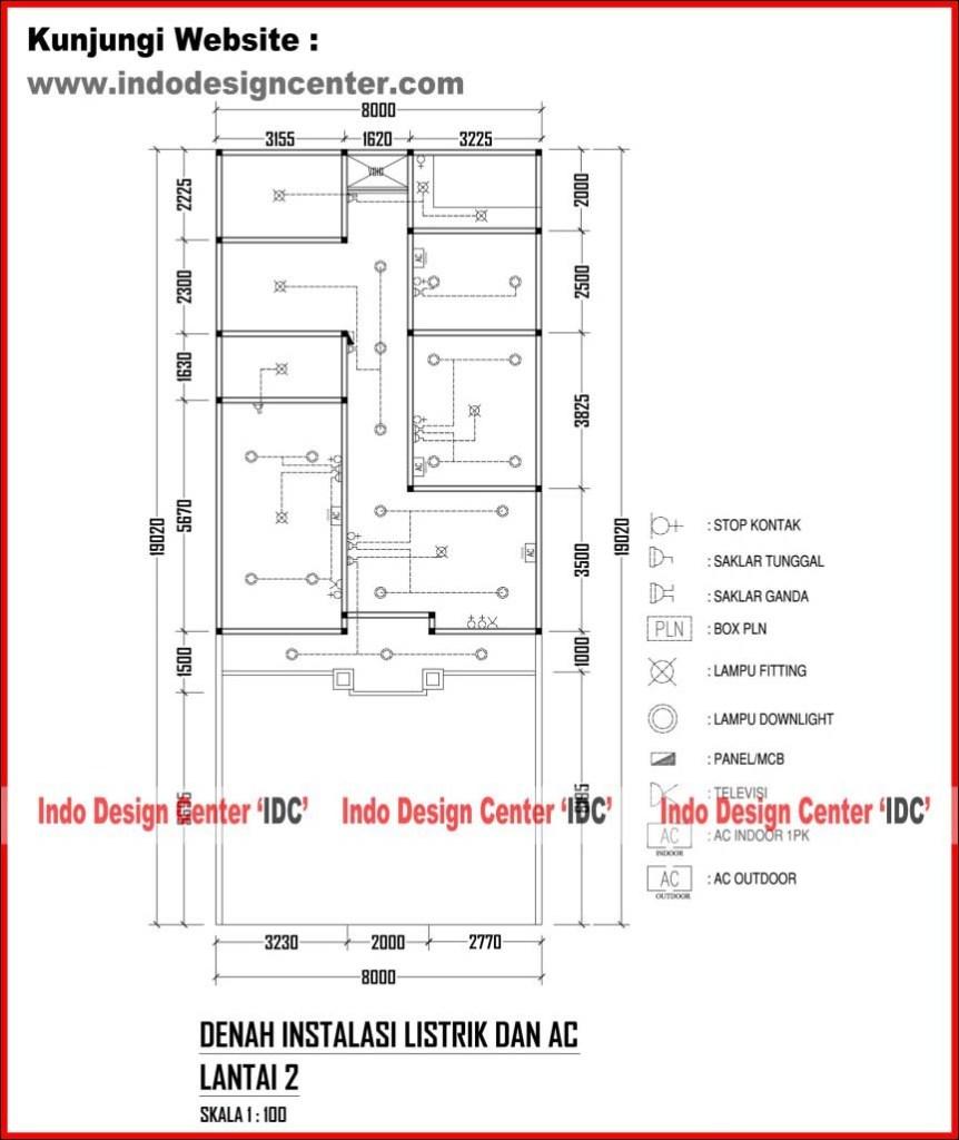 025 denah instalasi listrik dan ac lantai 2 jasa desain