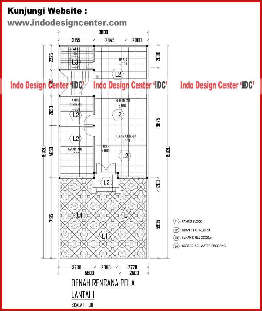 Contoh Karya Jasa Desain Rumah: 029.Denah Rencana Pola Lantai 1