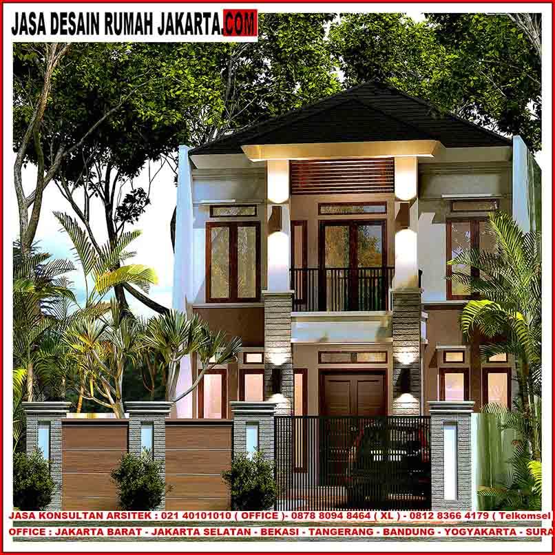 10 Desain Rumah 2 Lantai Modern Elegan Unik: Desain Rumah Lebar 8 X 21 Minimalis Tropis Elegan Mewah 2
