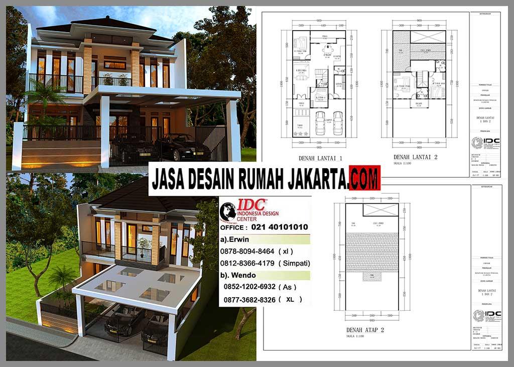 Desain Rumah Mewah Minimalis Modern 2 Lantai Ukuran 9m x 18m