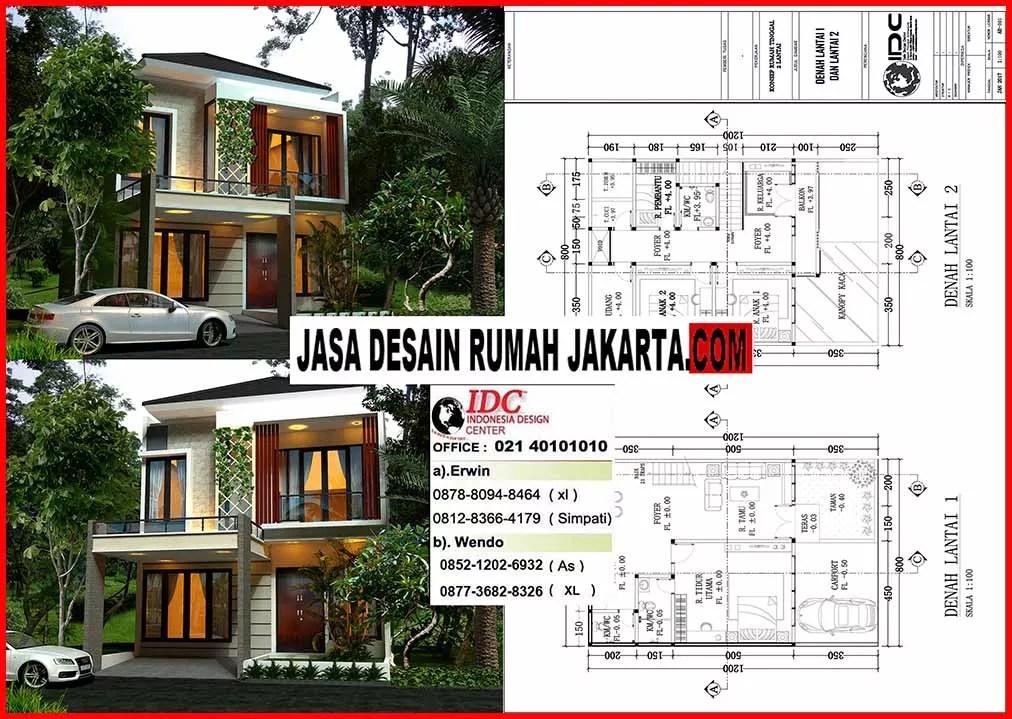 Jasa Desain Rumah Minimalis 2 Lantai Ukuran Lebar 8 X 12 Jasa