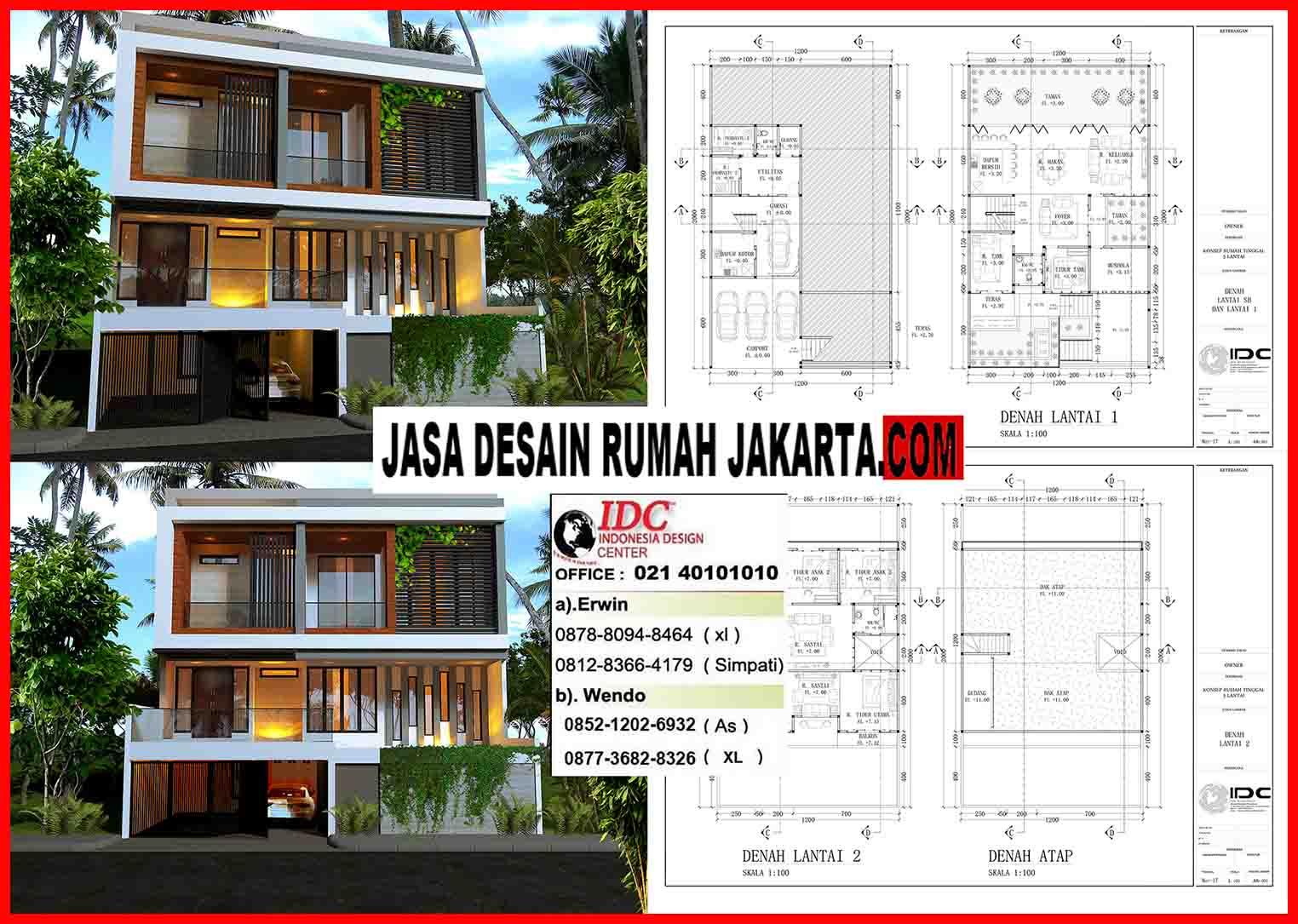 Jasa Desain Rumah Minimalis Modern Mewah Kontemporer 2 Lantai