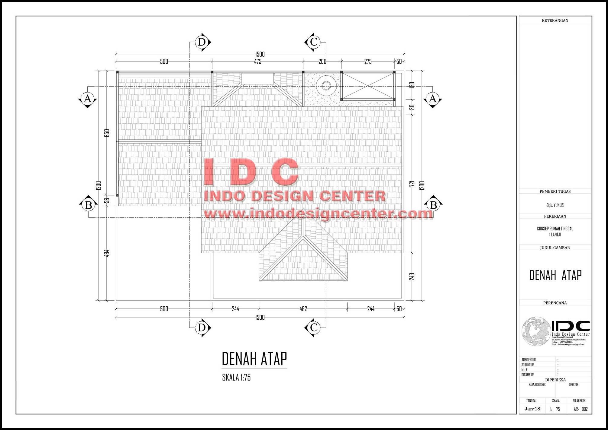 Contoh Gambar Kerja Lengkap Rumah Minimalis 1 Lantai Hal 002 INDO