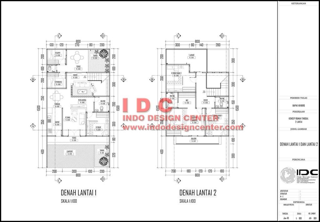 Denah  Rumah  2 Lantai Autocad download gambar  autocad