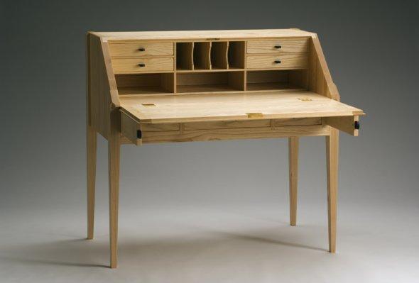 Slant Top Desk Drop Front Desk With Pigeon Hole Console