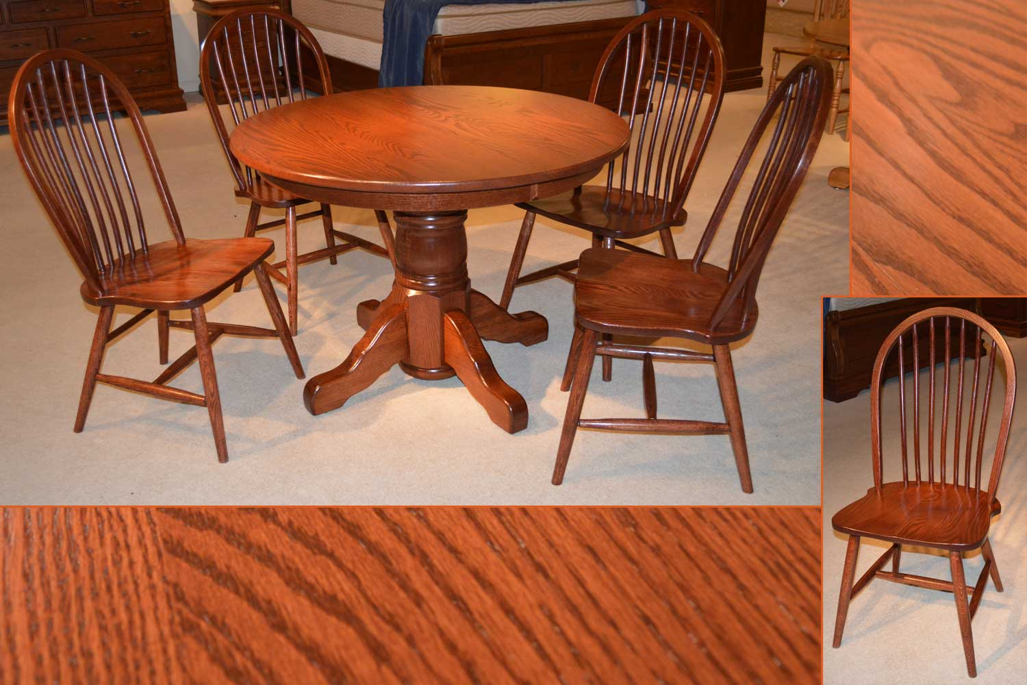 pedestal table and chairs foldable chair set amish furniture michigan single denver side
