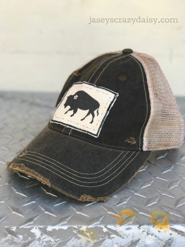 distressed daisy buffalo hat