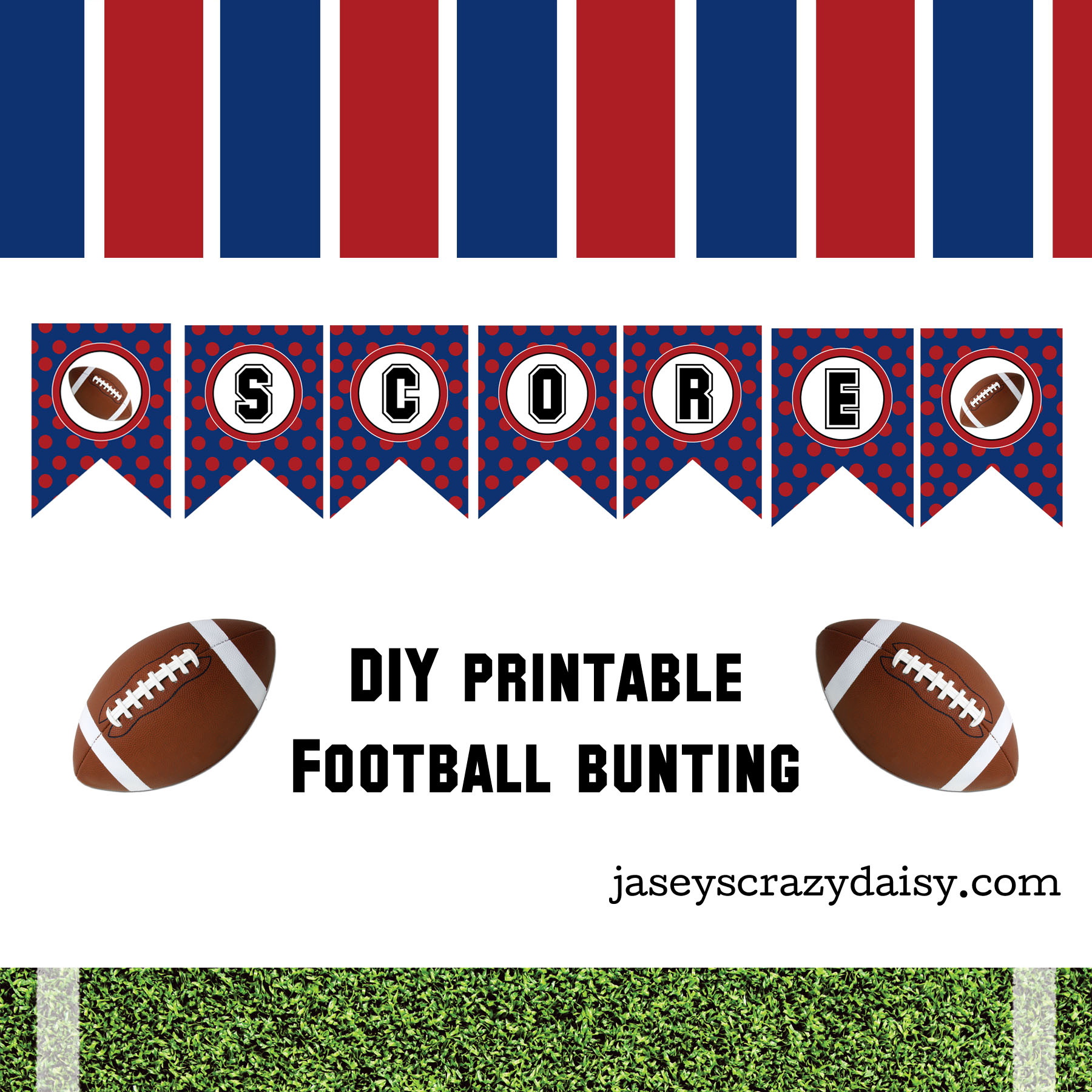 picture relating to Football Printable called Do it yourself Printable Rating Crimson and Blue Soccer Bunting- Quick Down load - Jaseys Mad Daisy