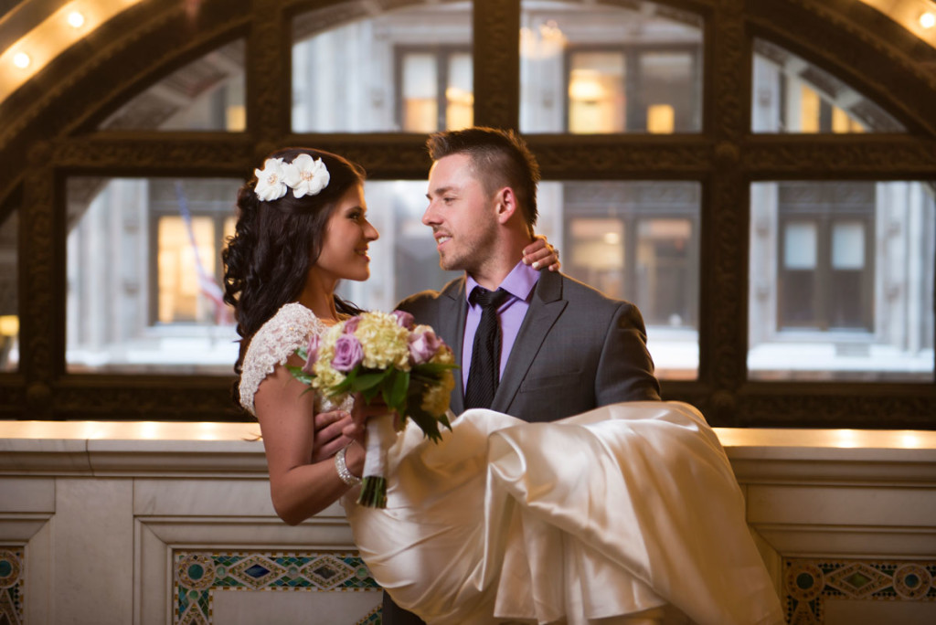 Bride and Groom in front of the window in Chicago Cultural Center