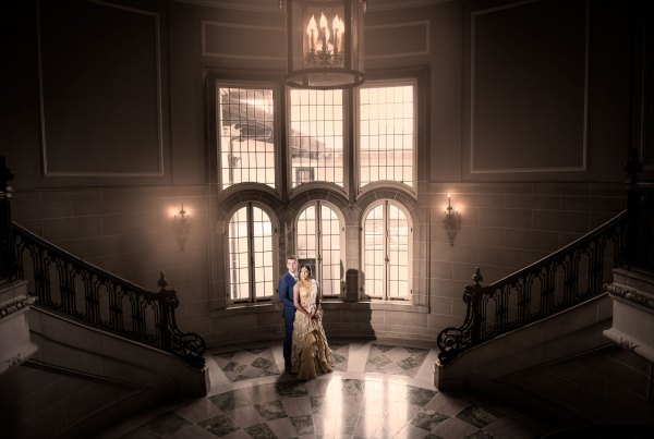 Bride and Groom Posing for Their Wedding Day at Beautiful Armour House Lobby