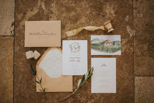 invitation details for the galleria marchetti wedding