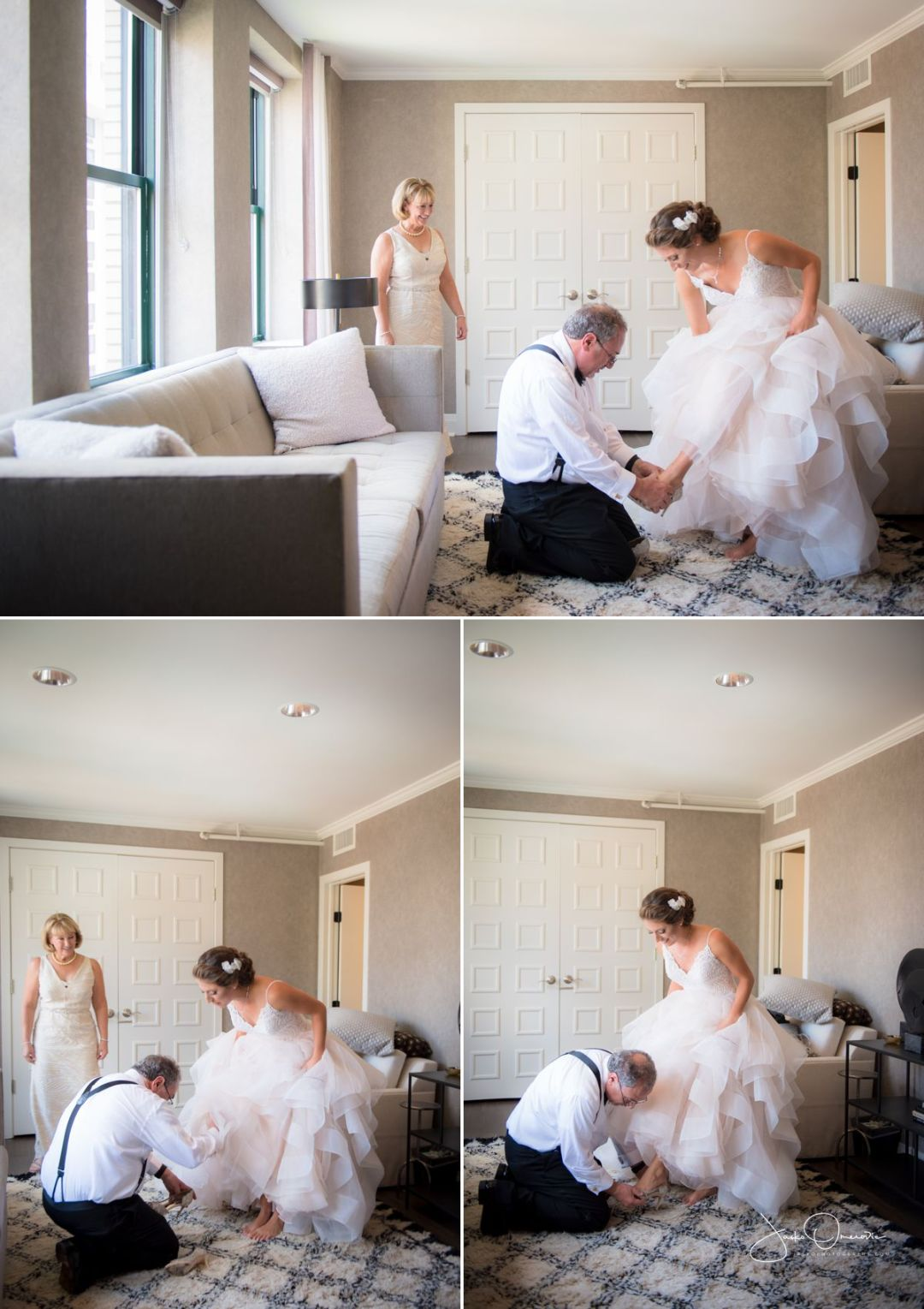 dad helping bride put her shoes on