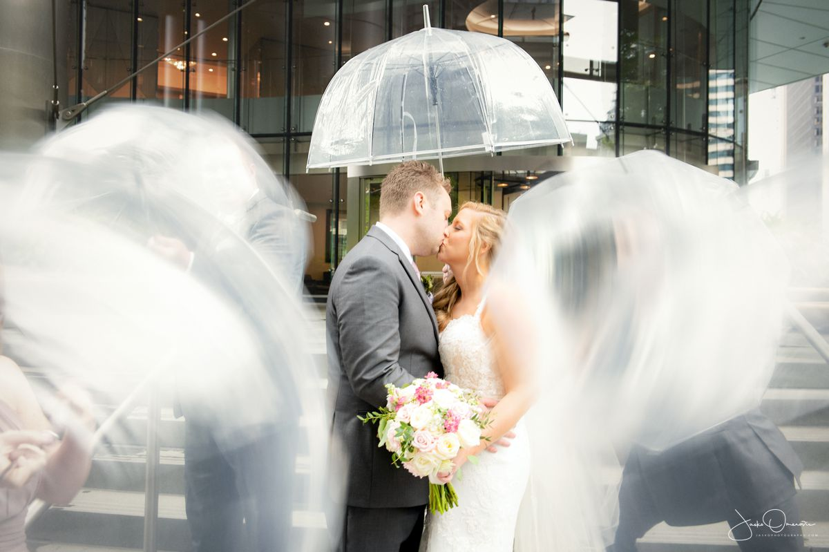 rainy wedding day at royal sonesta