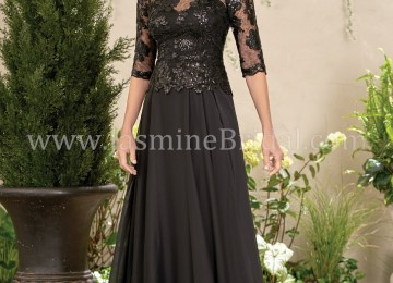 f9ac8501381 J195014 Long Boat Neckline Sequin Lace And Chiffon Mob Dress · K208001 ...