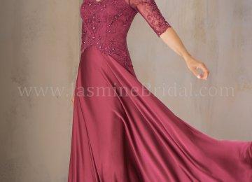 02fe0b1829 K208004 Long V Neck Satin Face Chiffon Mob Dress With Sleeves · J195014 ...