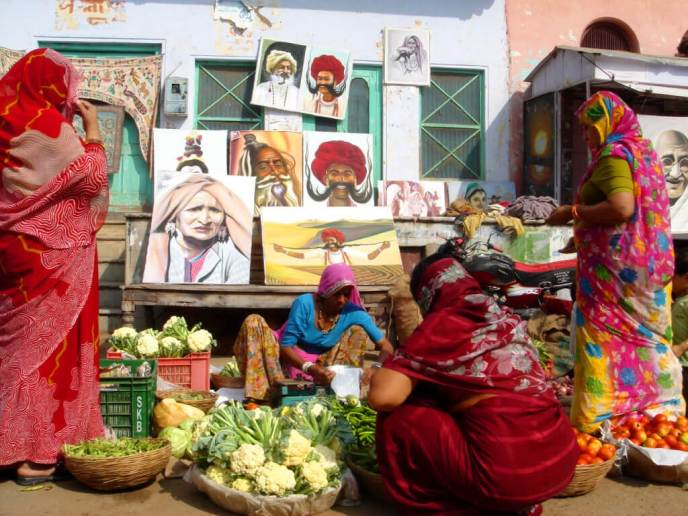 Art and vegetable shopping at Pushkar town in Rajasthan