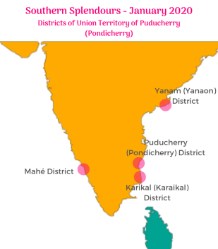 Jasmine trails Pondicherry Map for the Southern Splendours Tour January 2020