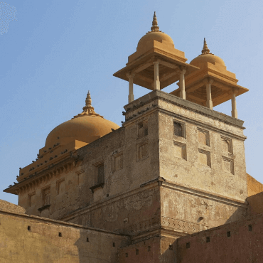 Part of the Amer Fort ramparts in Amer Jaipur
