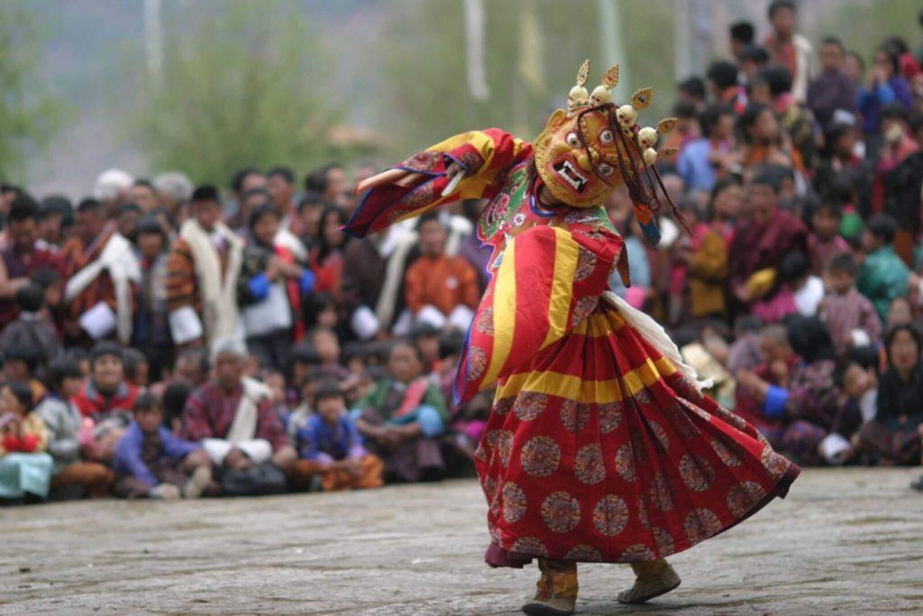 Masked Cham dancers in Bhutan