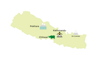 Nepal Travel Destinations Map by Jasmine Trails
