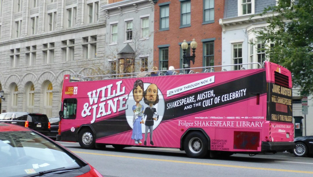 The Folger commissioned a bus to publicize the exhibition.