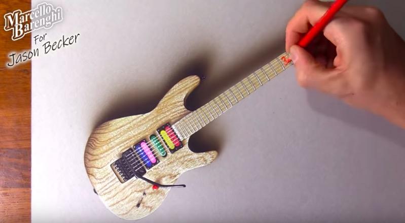 Jason Becker Guitar Drawing by Marcello Barenghi