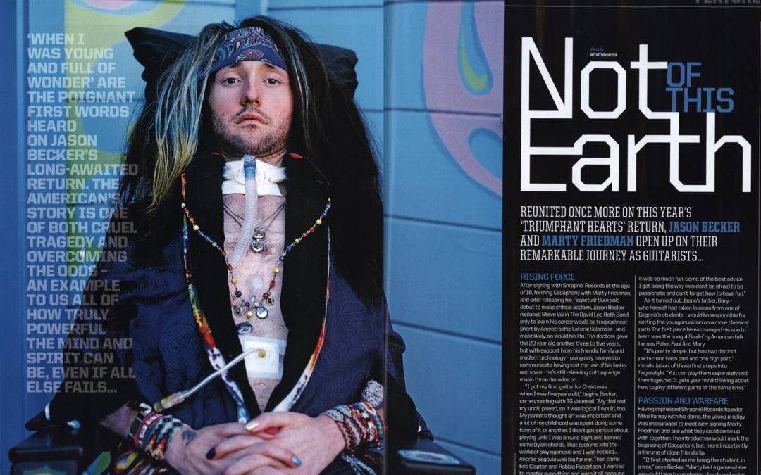 Great Cover Mention and 5 Page Feature on Jason Becker  in the New Issue of Total Guitar Magazine.