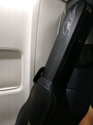 Jason Becker's Joe Bonamassa guitar on the flight to its new owners
