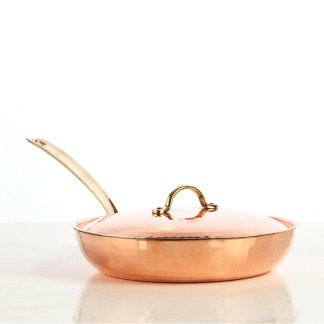 5400-18-copper-frying-pan-with-lid-18-cm-hammered-finish-square