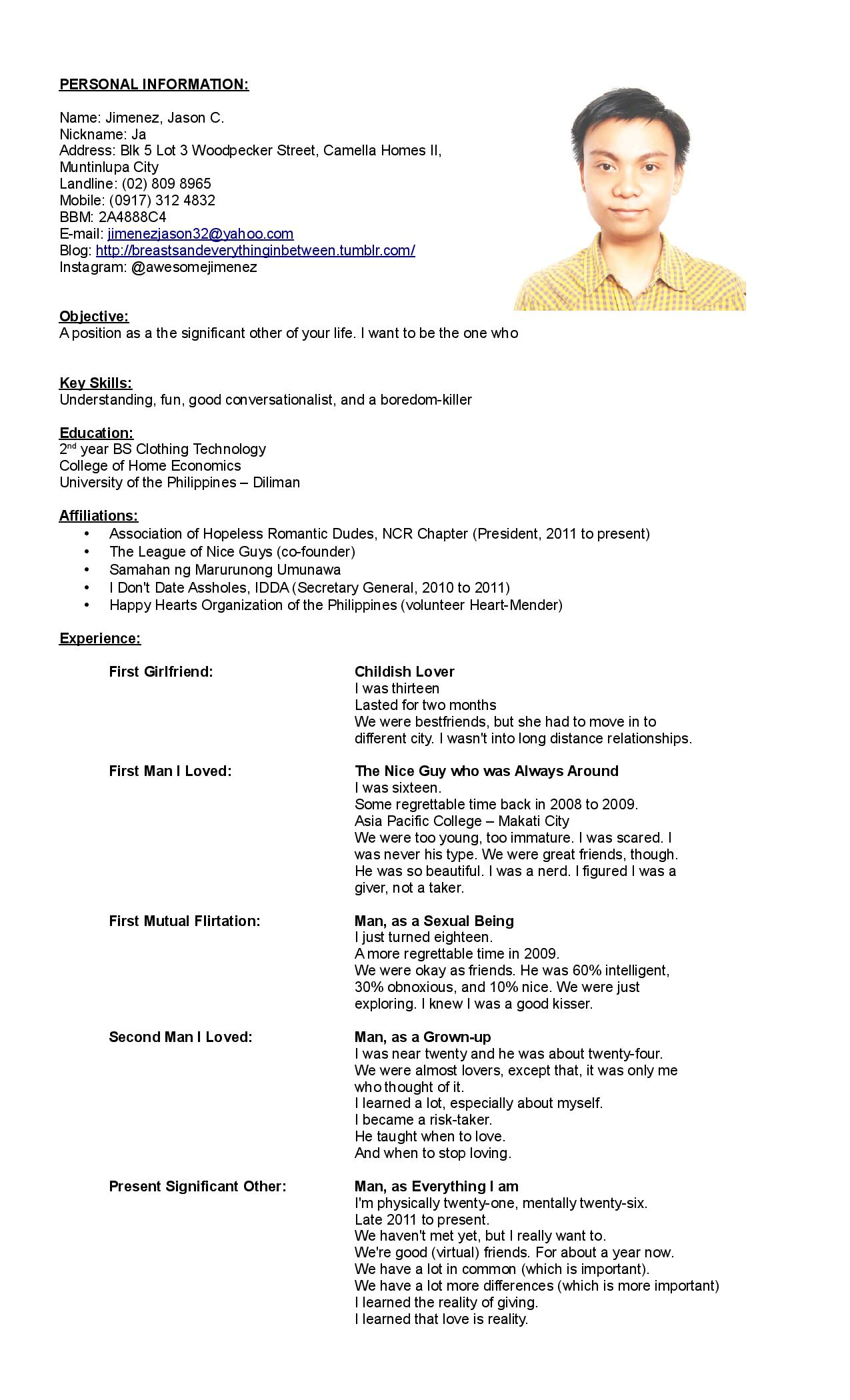 Oct Resume Application Resume An Application To Become Your Significant Other